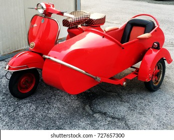 GENOA - OCTOBER 01, 2017: Scooter Vespa Index with Sidecar. Exhibition in Genoa, Italy
