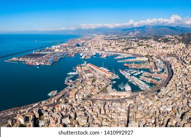 Genoa port aerial panoramic view. Genoa or Genova is the capital of Liguria region in Italy.