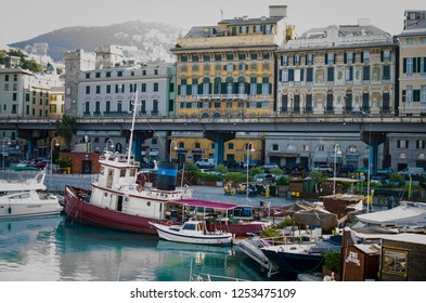 Genoa/Italy - May 16 2018: View of city from Old Harbor