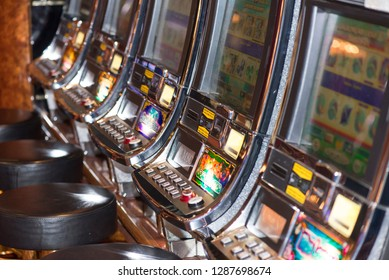 Genoa/Italy - September 10 2014: Slot machines in the casino of the MSC Musica cruise ship. The MSC Musica was built in 2006 and is operated by MSC Cruises.