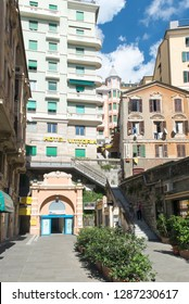 Genoa/Italy - September 13 2014: The entrance at the elevator connecting the Via Balbi with Corso Dogali. It performs a horizontal ride of about 300 meters then a vertical ascent of 70 meters.