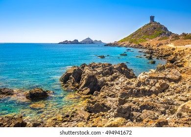 Genoese Tower of Parata peninsula, Ajaccio,  the west coast of the French island of Corsica, Europe.