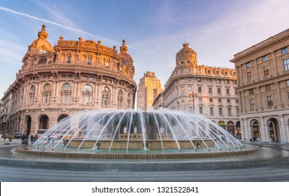 Genova, Genoa, Italy - February 2019: Piazza De Ferrari is the main square of Genoa, renowned for its fountain and where many institutions were established: stock exchange (Borsa), Credito Italiano