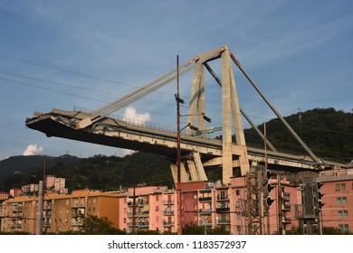 Genova Italy, 18 September 2018, The Morandi bridge, built in the sixties, is no longer there. The whole viaduct will be demolished. The costs of dismantling will be borne by Autostrade