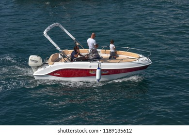 Genova Italy, 20 September 2018: Yacht Charter Eden 18 built in fiberglass has the capacity of 7 people, on navigating for a sea test with potential customers