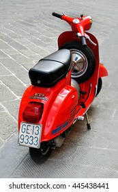 Genova, Italy - August 17, 2015: vespa primavera 125 et3 - iconic classic old fashioned italian scooter was produced from 1976. Photo captured in an urban environment Genova, Ligure, Italy.