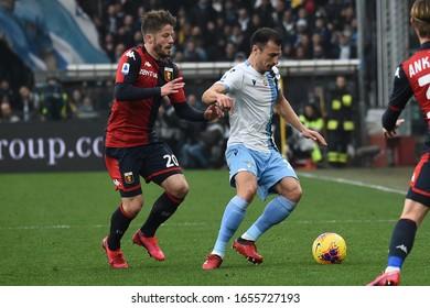Genova, Italy, February 23 2020 lasse schone (genoa) ,  stefan radu (lazio) during Genoa vs SS Lazio italian Serie A soccer match