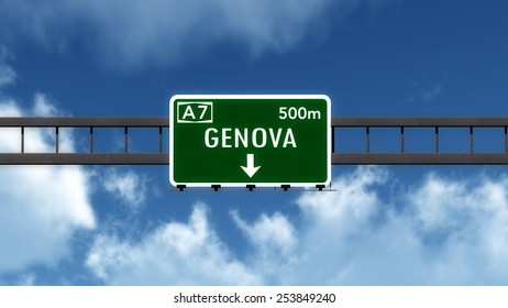Genova Italy Highway Road Sign 3D Illustration