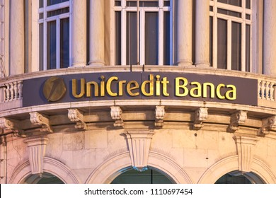 Genova, Italy - January 11, 2016: Plate at the local branch of the Italian Bank UniCredit Banca located at Piazza de Ferrari
