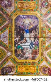 Genova, Italy - July 25, 2016. Ceiling detail of the Chiesa di Nostra Signora della Consolazione e San Vincenzo church of  Genova. Liguria, Italy.