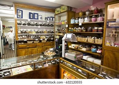 GENOVA, ITALY - June 2016:  Inside Genova's oldest chocolate store: Romeo Viganotti