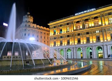 Genova, Italy / Liguria - 01 15 2018 : Piazza de ferrari square popular landmark by night