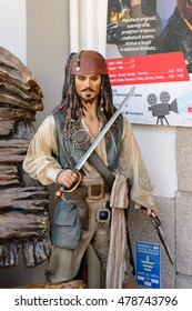 GENOVA, ITALY - MAY 4, 2016: Johnny Depp as the Captain Jack Sparrow, International cinema museum in Genova, Italy. Museum with collections about the popular Hollywood movies.