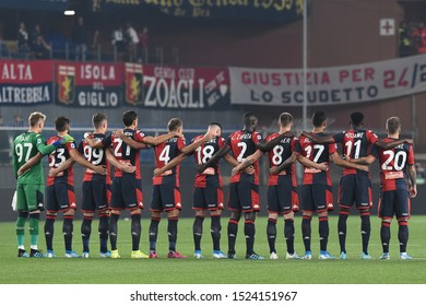 Genova, Italy, October 05 2019 Line Up  of genoa, durante the minute of silence per the morte of patron of sassuolo squinzi  during Genoa Vs Milan  Italian Soccer Serie A Men Championship