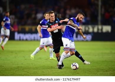 Genova Italy, September 02 2018: Arkadiusz Milik of NAPOLI in action during football match serie A League 2018-2019 between SAMPDORIA vs SSC NAPOLI at Luigi Ferraris Stadium.