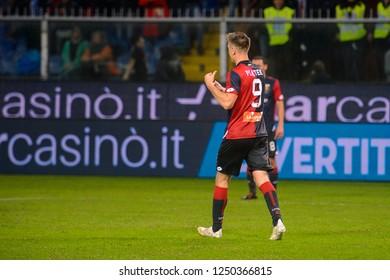 GENOVA - NOV 10, 2018:  9 Krzysztof Piatek. C.F.C Genoa - SSC Napoli. Calcio Serie A TIM. Stadium Luigi Ferraris.