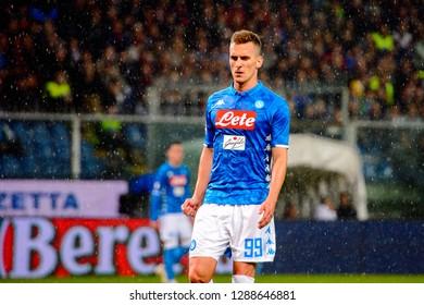 GENOVA - NOV 10, 2018:  Arkadiusz Milik 99 portrait. C.F.C Genoa - SSC Napoli. Calcio Serie A TIM. Stadium Luigi Ferraris.