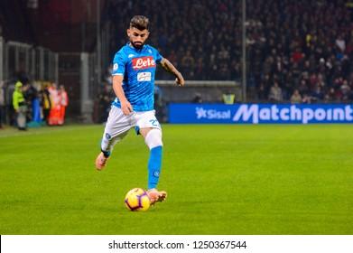 GENOVA - NOV 10, 2018:  Elseid Hysaj 23. C.F.C Genoa - SSC Napoli. Calcio Serie A TIM. Stadium Luigi Ferraris.