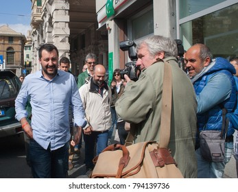 Genova Sampierdarena (ITALY) - 2 May 2015: The Federal Secretary Matteo Salvini, in Liguria for the electoral campaign for Regional and Administrative Elections of 31 May 2015.