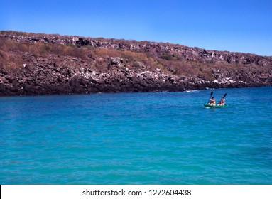 Genovesa Island, Tower Island, Galapagos Islands, Ecuador, Women on sea kayak, October 10, 1998