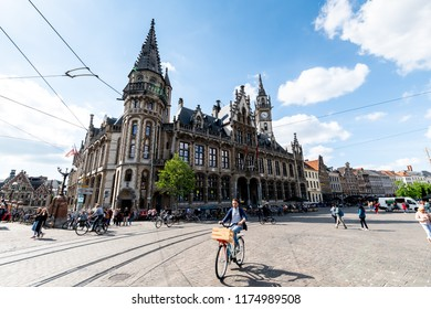 GENT, BELGIUM- 13 June 2018 - ancient City center of Gent on a bright sunny day - tourists around visiting the city area