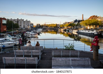 GENT, BELGIUM – 22 OCTOBER 2020: View on Portus Ganda, one of the yacht moorings provided by the city of Ghent – Ghent, Belgium