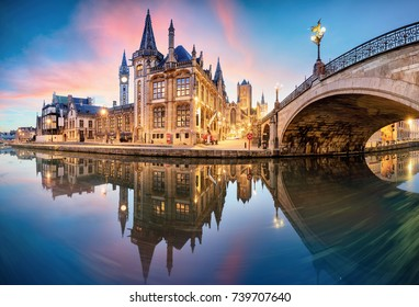 Gent, Belgium at day, Ghent old town