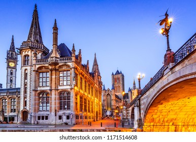 Gent, Belgium. The historic center of Ghent (Gand), embankment Graslei at night. Former center of the medieval harbor in Flanders.
