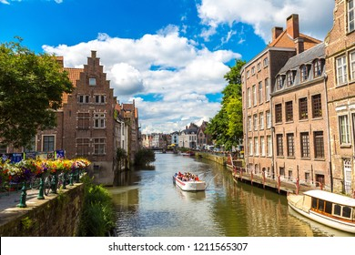 GENT, BELGIUM - JUNE 14, 2016: Canal in the old town in Gent in a beautiful summer day, Belgium