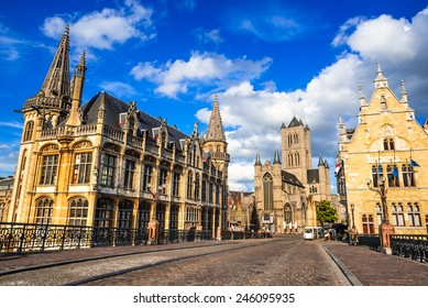 Gent, Belgium, Medieval city of Ghent in Flanders with Saint Nicholas Church and Belfry tower, one of famous landmarks of Belgium.