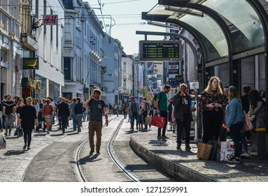 Gent, Belgium - Oct 6, 2018. People walking on street in Gent, Belgium. Gent (Ghent) is fourth-largest and most beautiful city.
