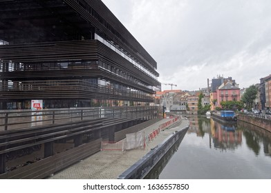 Gent / Belgium - October 2nd 2018: De Krook is located in Gent Belgium,  and is an architectural work of art with its industrial style. It houses the city library, Flemish research center and UGent.