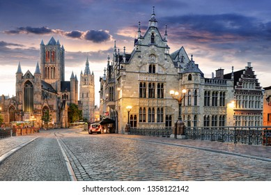 Gent, Belgium with Saint Nicholas Church and Belfort tower at twilight illuminated moment in Flanders.