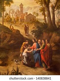 GENT - JUNE 23: Christ healing the blind men on the road to Jericho. Paint from Pieter Norbert van Reysschoot (1738 - 1795) in st. Peters church on June 23, 2012 in Gent, Belgium.