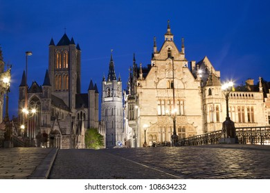 Gent -  Look from Saint Michaels bridge to Nichlas church and town hall in evening on June 24, 2012 in Gent, Belgium.