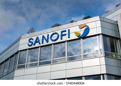 Gentilly, France, March 21, 2021: Sign and logo on the head office building of Sanofi. Sanofi is a French multinational company specializing in the health sector