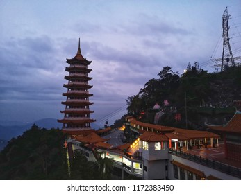 Genting Highland, Malaysia - 30 August 2018 : Landscape sunrise view of Chin Swee Caves Temple at Genting Highland. Genting Highland is famous tourist attractions near Kuala Lumpur. Mobile photoghpy.