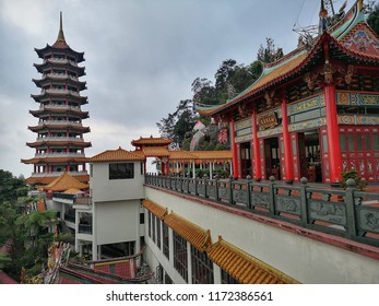 Genting Highland, Malaysia - 30 August 2018 : Landscape view of Chin Swee Caves Temple at Genting Highland. Genting Highland is famous tourist attractions near Kuala Lumpur.