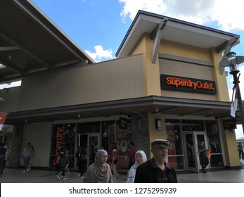 GENTING HIGHLAND, MALAYSIA- JANUARY 2019 : Superdry outlet in Genting Highland Premium Outlet, Pahang, Malaysia. Superdry plc is a UK branded clothing company.