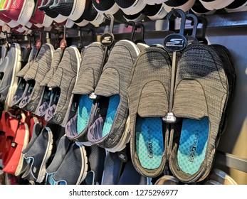 GENTING HIGHLAND, MALAYSIA- JANUARY 2019 : Skechers Goga shoes display for sale in outlet.Skechers USA, Inc. is an American lifestyle and performance footwear company.
