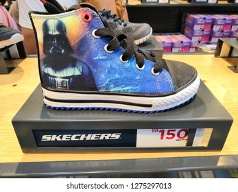 GENTING HIGHLAND, MALAYSIA- JANUARY 2019 : Skechers Star Wars edition shoes display for sale in outlet.Skechers USA, Inc. is an American lifestyle and performance footwear company.