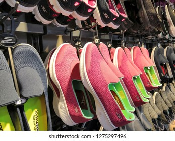 GENTING HIGHLAND, MALAYSIA- JANUARY 2019 : Skechers Goga Max shoes display for sale in outlet.Skechers USA, Inc. is an American lifestyle and performance footwear company.