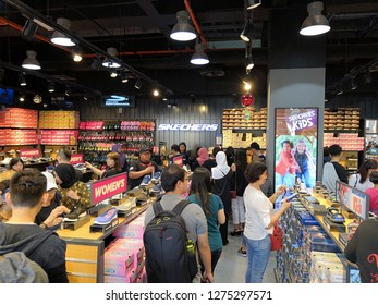 GENTING HIGHLAND, MALAYSIA- JANUARY 2019 : Inside Skechers outlet. Skechers USA, Inc. is an American lifestyle and performance footwear company.