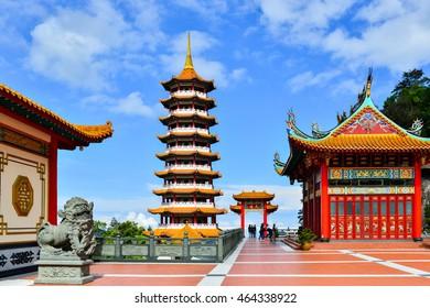 GENTING HIGHLAND, MALAYSIA - JULY 16, 2016 : Pagoda at Chin Swee Temple, Genting Highlands on July 16, 2016. Genting Highland is a famous tourist attraction near Kuala Lumpur.
