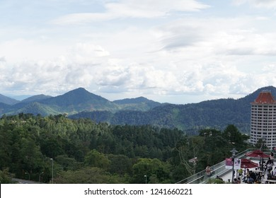 GENTING HIGHLAND, MALAYSIA - NOVEMBER 04, 2018 : View of surrounding moutain and stores around Genting Premium Outlet, Genting Highland, Pahang, Malaysia.
