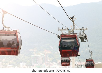 GENTING HIGHLAND, MALAYSIA - SEPTEMBER 17, 2017: Awana Skyway cable car, one of Genting Highland's most popular attractions, providing a method of travel between Awana Station and SkyAvenue mall