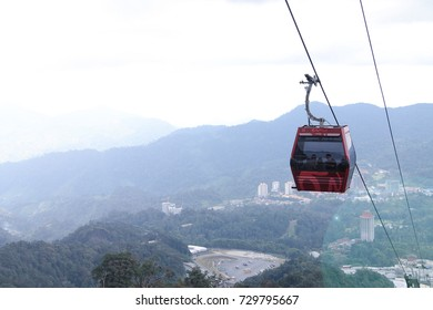 GENTING HIGHLAND, MALAYSIA - SEPTEMBER 17, 2017: Awana Skyway cable car, one of Genting Highland's most popular attractions, providing a method of travel between Awana Station and SkyAvenue mall.