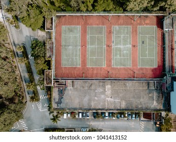 Genting Highland, Pahang / Malaysia - January 6 2018: Flat lay view of tennis courts on top of a parking at Awana Genting Golf Resort