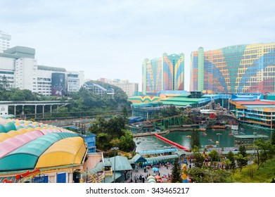 Genting Highlands, Malaysia - AUGUST 15, 2013: Resorts World Genting is a hill resort,  situated at an average elevation of 1740 m above sea level. It is a popular tourist destination in Malaysia.
