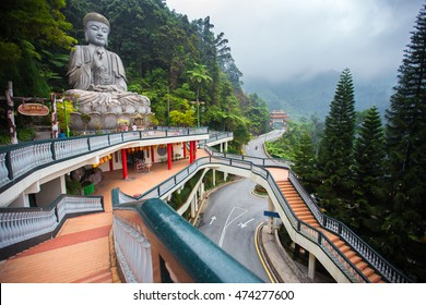 Genting Highlands, Malaysia - AUGUST 19, 2016: Large stone Buddha statue at Chin Swee Caves Temple in Genting Highlands, Pahang, Malaysia